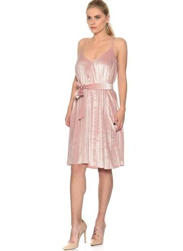 House Of Camellia İp Askılı Pileli Elbise Pembe